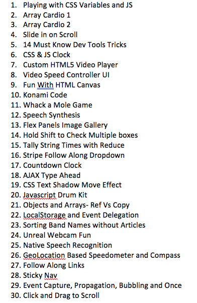 List of JAvaScript 30 Challenges in my own order